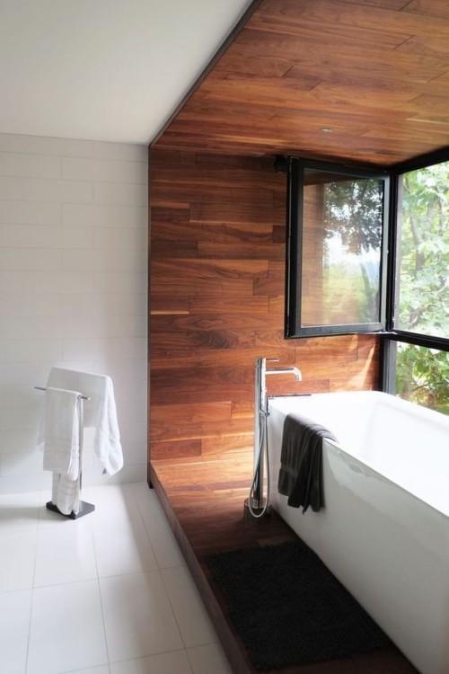 Badezimmer Im Minimalistischen Stil Holz Im Bad Viel Licht