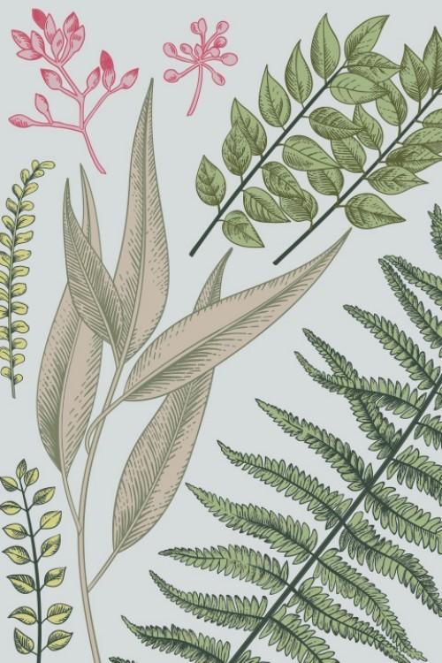 Florale Muster tropisches Grün überall im Interieur einsetzen