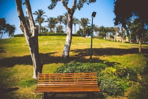 Grüne Landschaft Picknick Platz Ali-Azhar Park Kairo