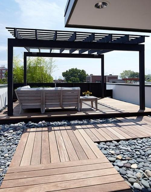 Holz Steine Pergola Konstruktion moderne Outdoor-Gestaltung