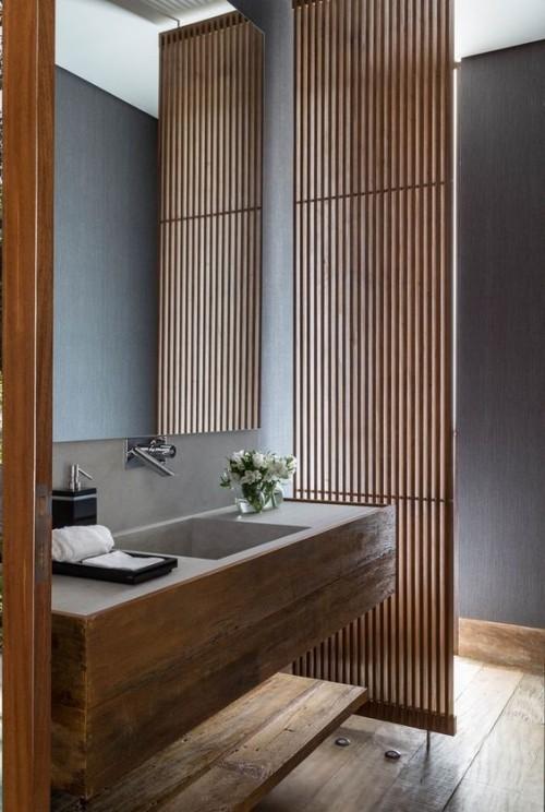 Holz im Bad findet einen breiten Einsatz neue Badezimmerdesigns entstehen