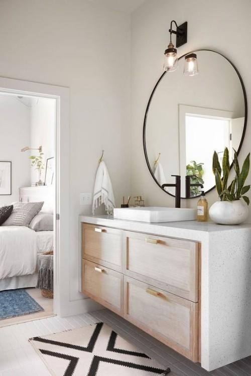 Holz im Bad nahtlose Verlängerung des Schlafzimmers