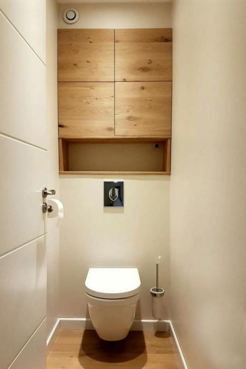 Holz im Bad schlichtes Design große visuelle Wirkung Schrank aus Holz Holzboden