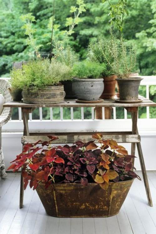 Kleinen Garten gestalten alte Töpfe mit Patina zweite Chance