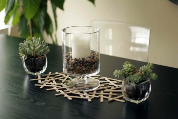 Tischdeko Ideen Tischordnung Platzordnung Kinder basteln mit holzstäbchen