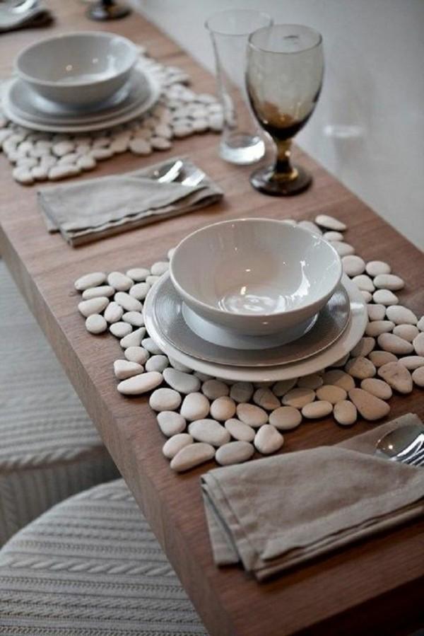 Tischdeko Ideen Tischordnung Platzordnung platzset aus steinen