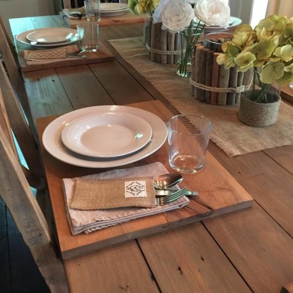 Tischdeko Ideen Tischordnung Platzordnung platzset holzbrett