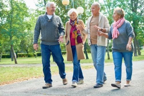 Zwei ältere Familienpaare gehen im Park spazieren gute Verhältnisse goldene Regeln