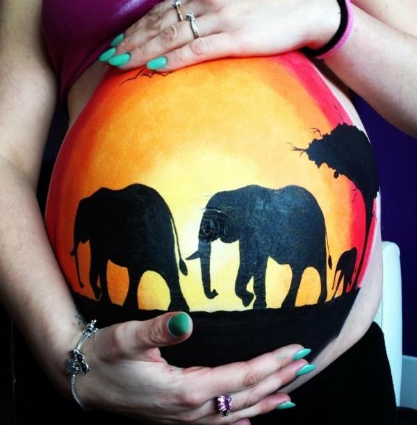 babybauch bemalen fotoshooting ideen afrika elephanten
