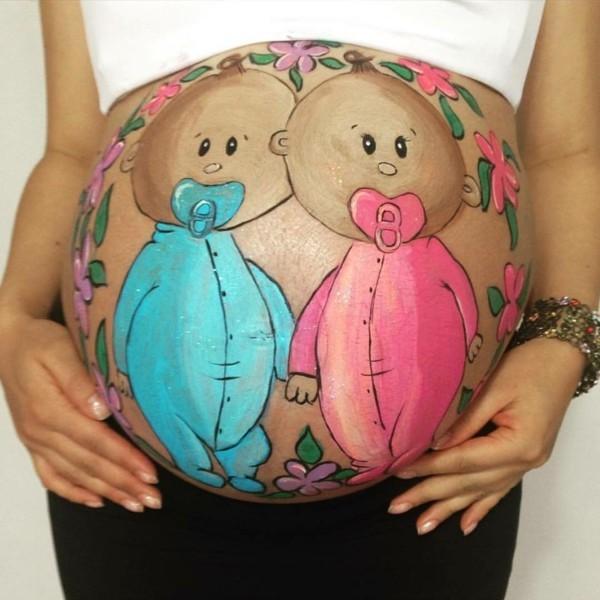 babybauch bemalen fotoshooting ideen für zwillinge