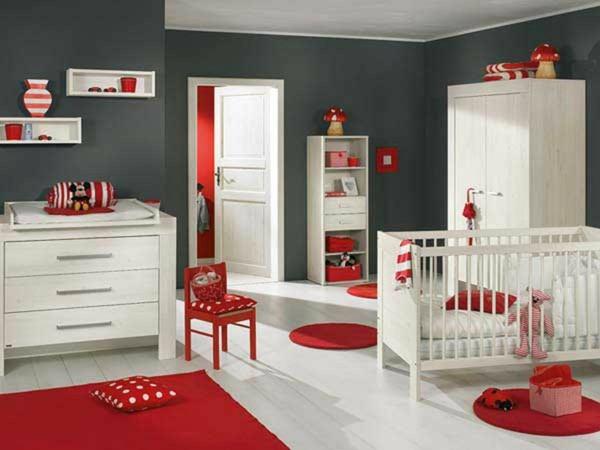 babyzimmer Deko Ideen weiss rot