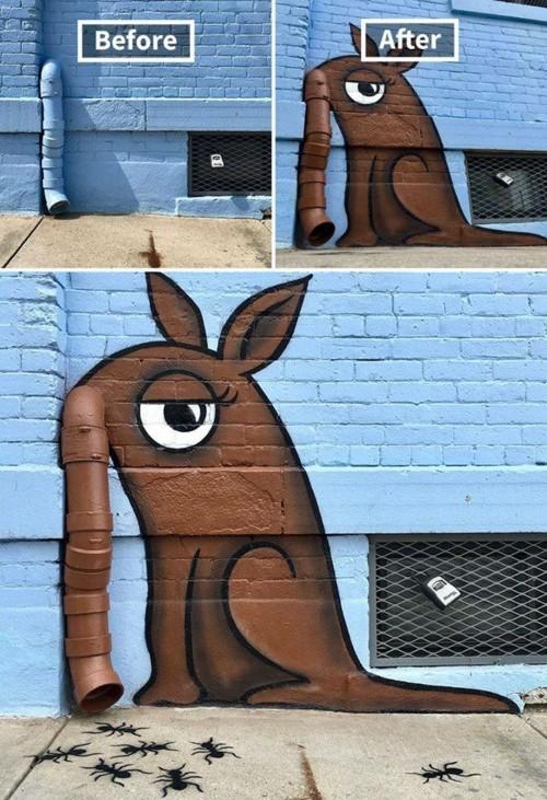 braune figur street art
