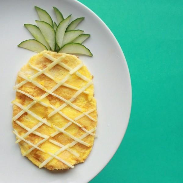 dekoideen basteln mit kindern teller anrichten ananas