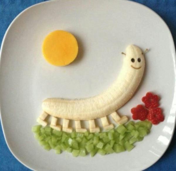 dekoideen basteln mit kindern teller anrichten obst banane