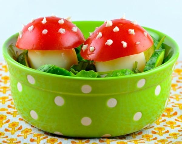dekoideen basteln mit kindern teller anrichten pilze aus tomaten