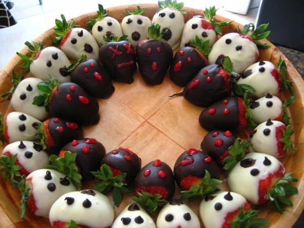 dekoideen basteln mit kindern teller anrichten wird erdbeeren
