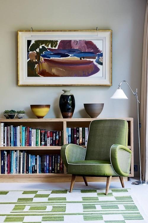 grüne akzente im raum wohnzimmer ideen