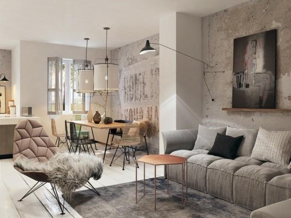 industial style kleines wohnzimmer einrichten