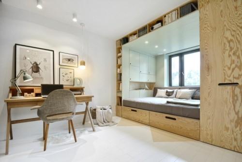 kleine schlafzimmer in einem offenen wohnplan