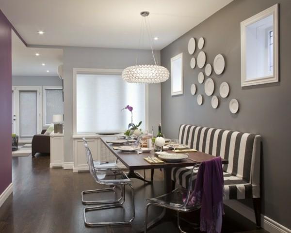 kleines wohnzimmer mit essbereich einrichten gepolsterte sitzbank