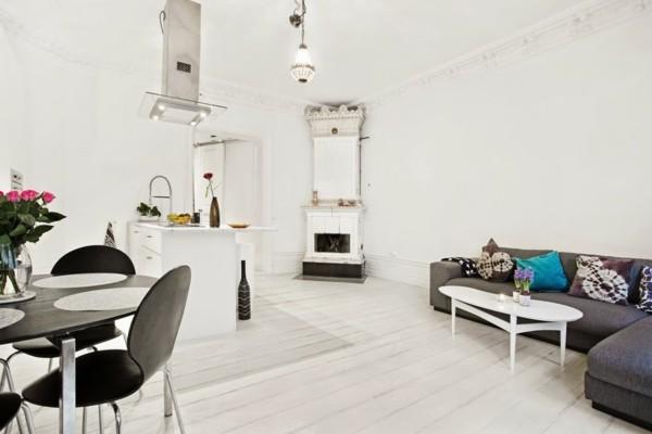 kleines wohnzimmer mit essbereich einrichten weiß