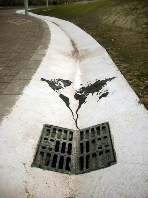 leitung straße boden street art