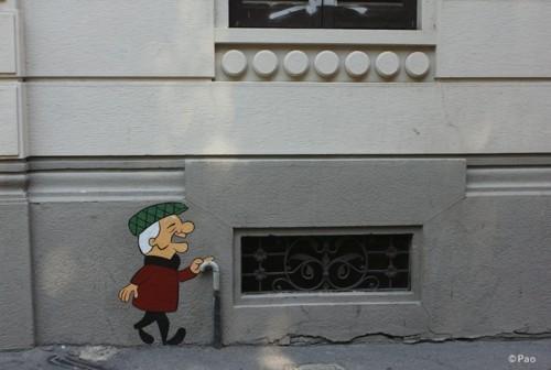 mann mit stock street art idee