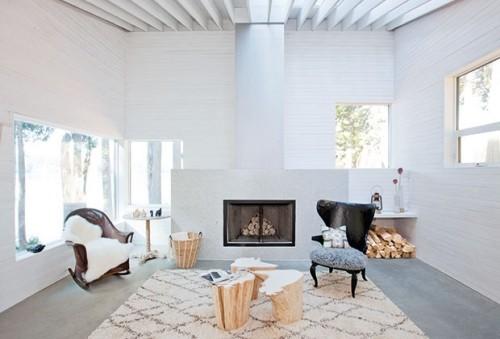 offenes Raumkonzept Wohnzimmer weiße Couch