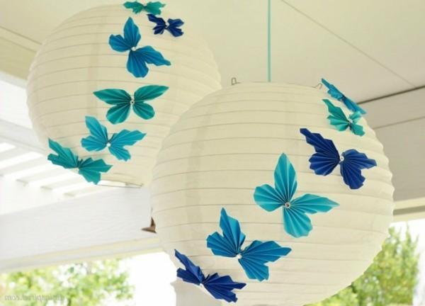 papierlampen dekorieren sommerdeko
