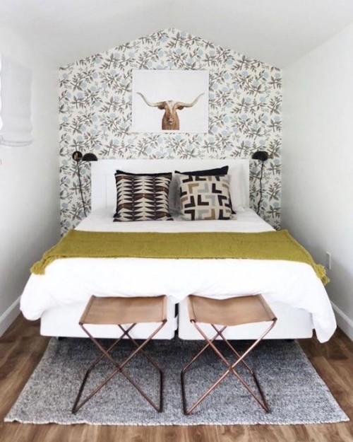 pflanzliche ornamente kleine schlafzimmer