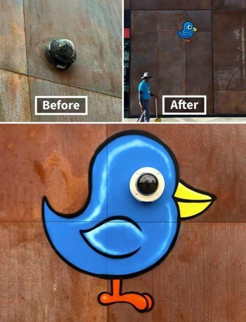 street art blaues vögelchen