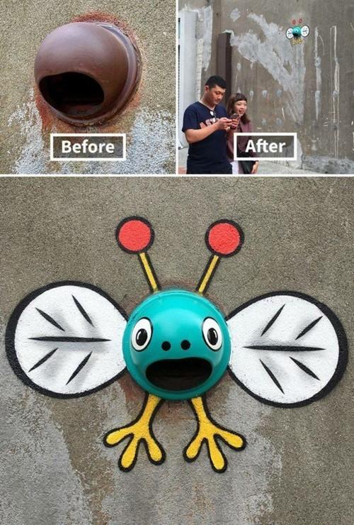 street art lustiger insekt