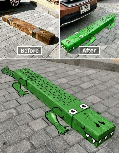 street art lustiger krokodil