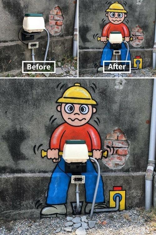 street art mann mit einer bohrmaschine