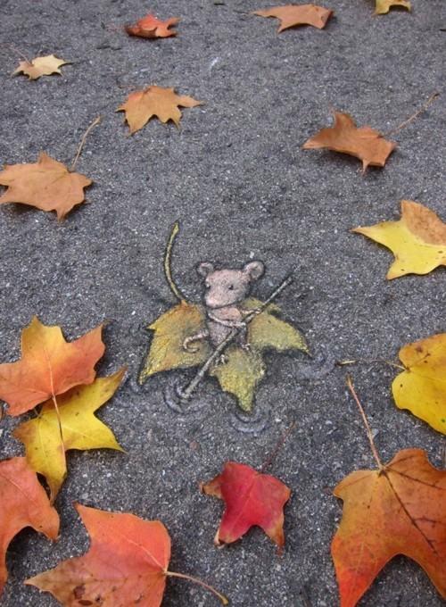 street art maus und herbstblätter