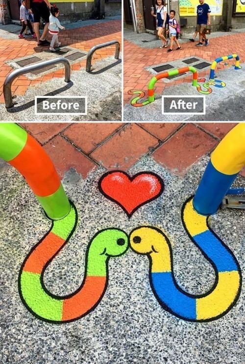 street art verliebte schlangen