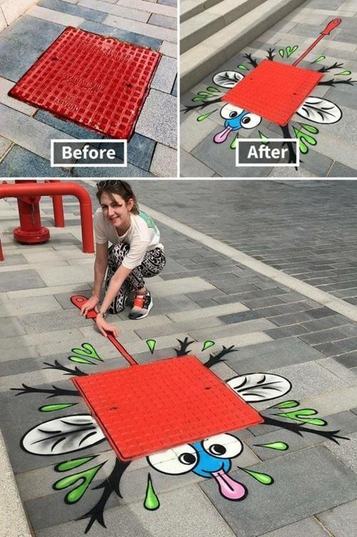 street art zerquetschte fliege