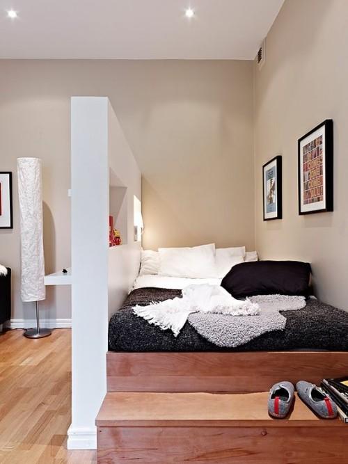 tolle zweiteilung kleine schlafzimmer