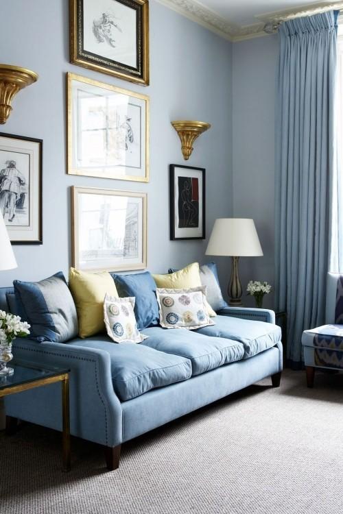 verschiedene blaue farben wohnzimmer ideen