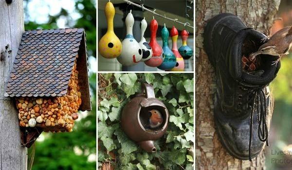 vogelgarten sommerdeko ideen mit alten gegenständen