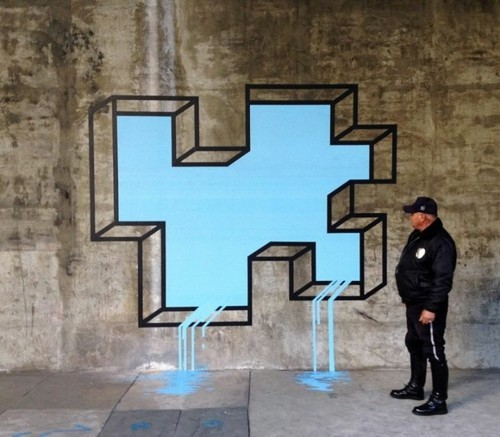 wasser aus der wand street art