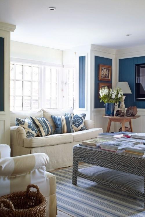 weiß blaue kontraste wohnzimmer ideen