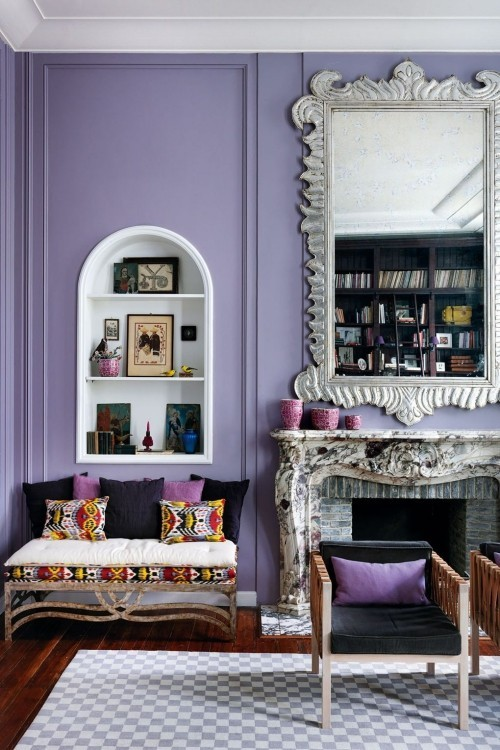 wohnzimmer ideen lila wandfarbe