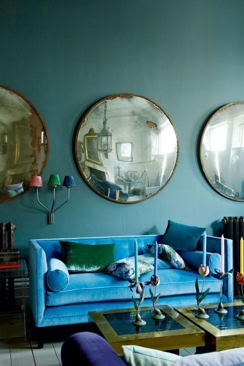 wohnzimmer ideen runde spiegel