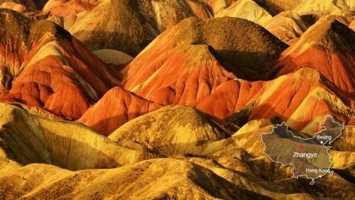 China Naturschönheiten Sandsteingebilde überraschende Farbenvielfalt