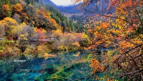China Naturschönheiten farbenprächtiger See einmaliger natürlicher Charme