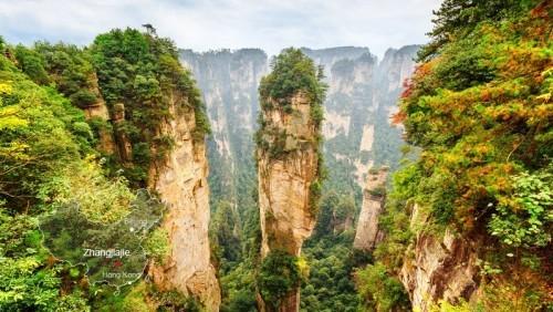 China bekannte Naturschönheit imposante Bergsäulen Huang Shan Inspirationsquelle für Film Avatar