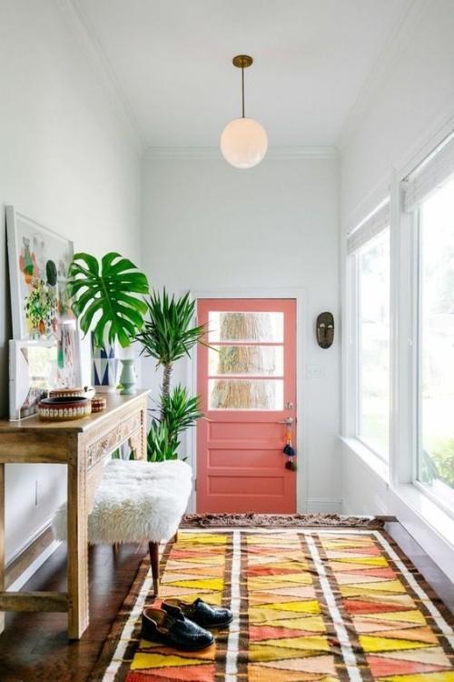 Flur gestalten leuchtende Farben Teppich