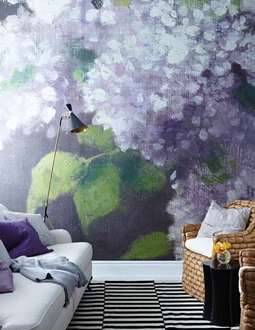 Fototapete in Flieder Farbe ein echtes Kunstwerk im Interieur