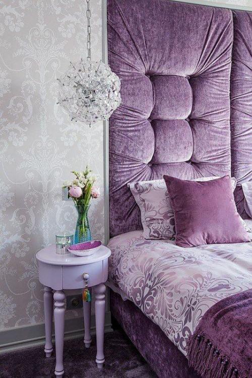 Grau und Flieder Farbe herrliches Farbduo für jedes stilvolle Schlafzimmer